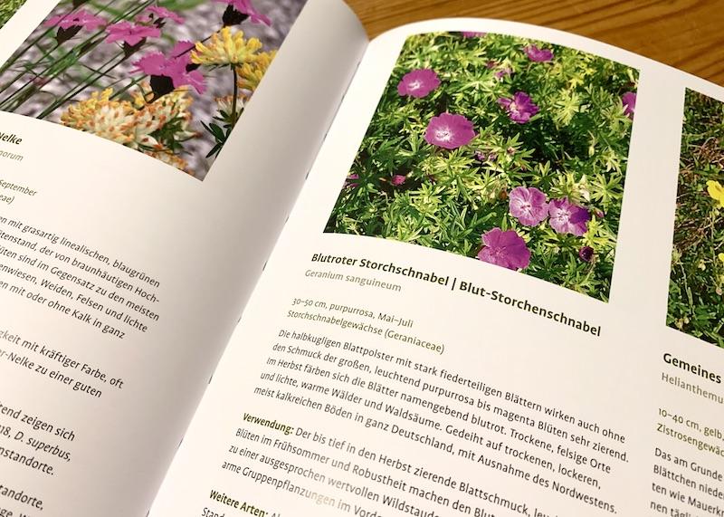 Innenseite des Gartenbuchs